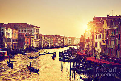 Photograph - Venice Italy In Vintage Sunset Mood by Michal Bednarek