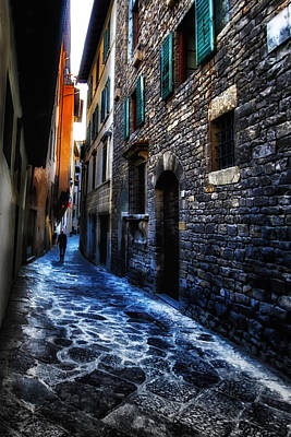 Venice Italy Silhouette - Lonely Walk Art Print