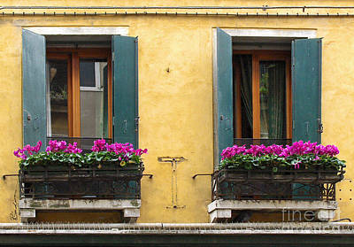 Photograph - Venice Italy Teal Shutters by Robyn Saunders