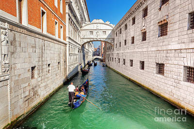 Photograph - Venice Italy The Bridge Of Sighs And Gondola by Michal Bednarek