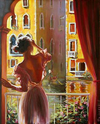 Floating Girl Painting - Venice Morning. by Roman Fedosenko