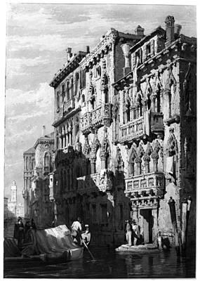 Venetian Balcony Painting - Venice Palazzo, C1830 by Granger