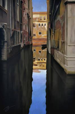 Venice Reflections - Pastel  Art Print by Ben Kotyuk