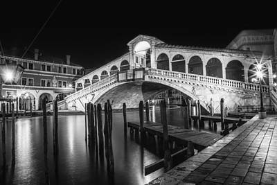 Venice Rialto Bridge At Night Black And White Art Print