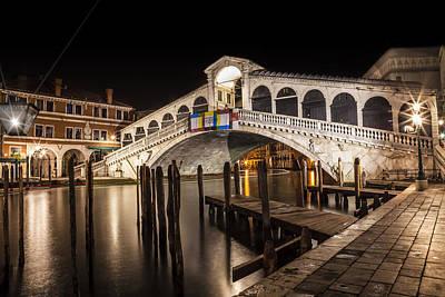 Venice Rialto Bridge At Night Print by Melanie Viola