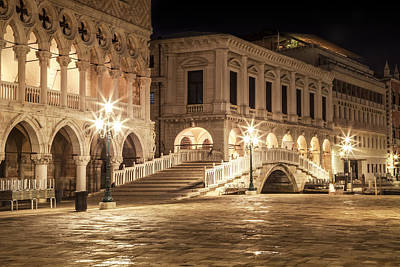 Palace Photograph - Venice Riva Degli Schiavoni At Night by Melanie Viola