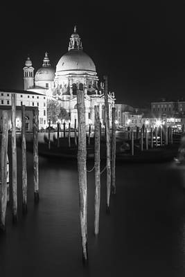 Illuminated Photograph - Venice Santa Maria Della Salute In Black And White by Melanie Viola