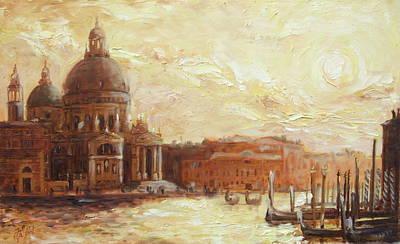 Sunset Painting - Venice - Santa Maria Della Salute by Irek Szelag