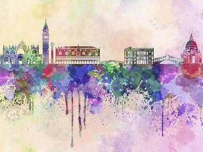 Splatter Digital Art - Venice Skyline In Watercolor Background by Pablo Romero