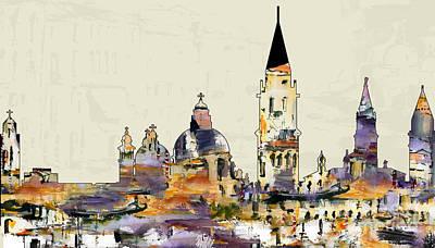 Painting - Venice Skyline Modern Art by Ginette Callaway