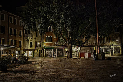 Venice Square At Night Art Print by Madeline Ellis