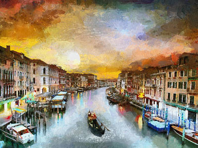 Painting - Sunrise In The Beautiful Charming Venice by Georgi Dimitrov