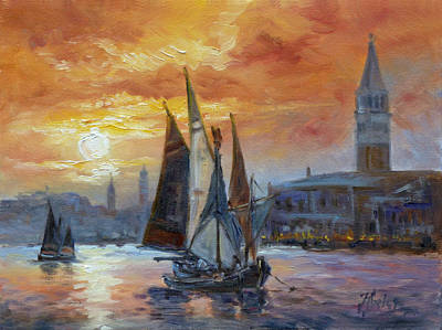 Painting - Venice Sunset - Bacino Di San Marco by Irek Szelag