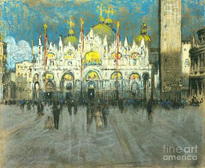Venice Sunset - Basilica Di San Marco 1901 Print by Padre Art