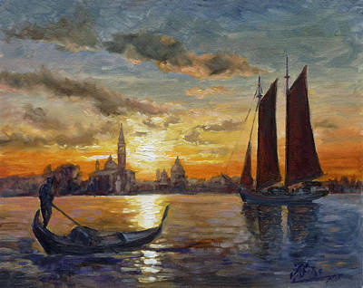 Sunset Painting - Venice Sunset - Canale Di San Marco by Irek Szelag