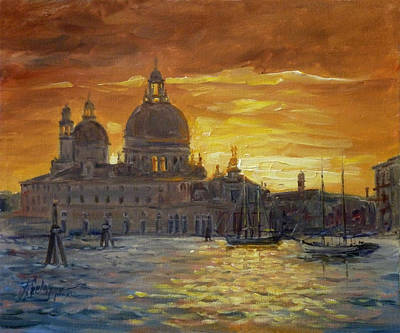 Sunset Painting - Venice Sunset - Santa Maria Della Salute by Irek Szelag