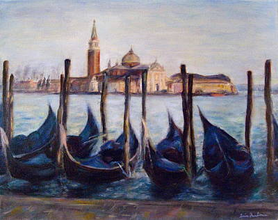 Narrative Painting - Venice Through The Gondolas Italy Painting by Quin Sweetman