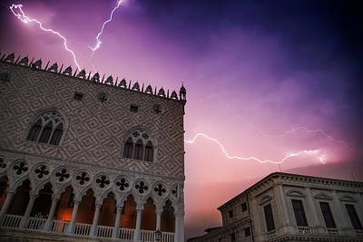 Lightning Photograph - Venice Thunderstorm Over Doge's Palace by Melanie Viola