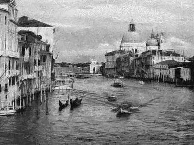 Painting - Vintage Venice Black And White by Georgi Dimitrov