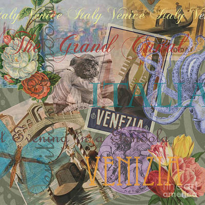 Collage Painting - Venice Vintage Trendy Italy Travel Collage  by Mary Hubley