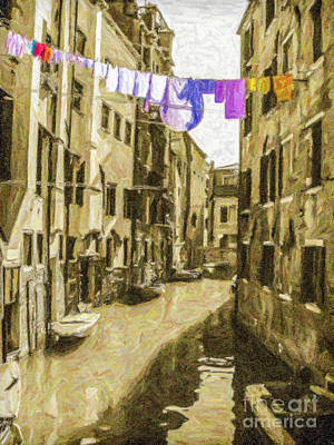 Digital Art - Venice Washing Line by Liz Leyden