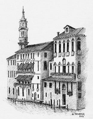 Drawing - Venice Waterway by Al Intindola