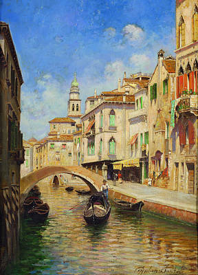 Rubens Santoro Painting - Venice With Gondolier by Rubens Santoro