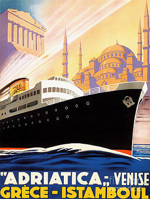 Traditional Drawing - Venise Vintage Travel Poster by Jon Neidert
