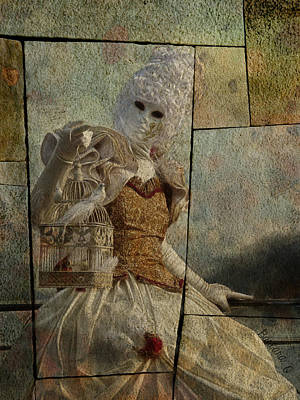Art Print featuring the photograph Venitian Carnival-bird In A Cage by Barbara Orenya