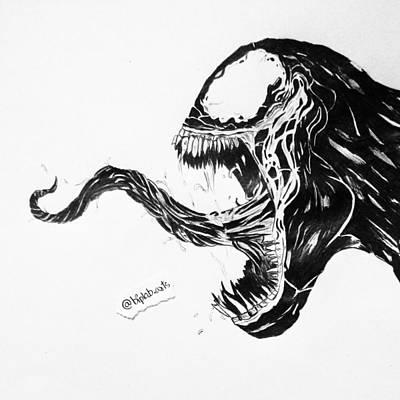 Spiderman Drawing - Venom By Biplab Basumatary by Biplab  Basumatary