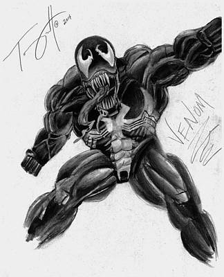 Avengers Drawing - Venom Drawing By Tony Orcutt by Tony Orcutt