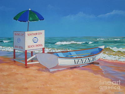 Jersey Shore Painting - Ventnor Beach Patrol by Elisabeth Olver