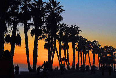 Ventura Boardwalk Silhouettes Art Print by Lynn Bauer