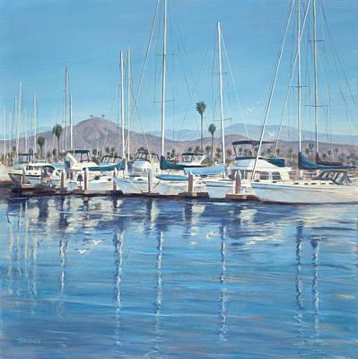 Harbor Drawing - Ventura Harbor Morning Light by Tina Obrien