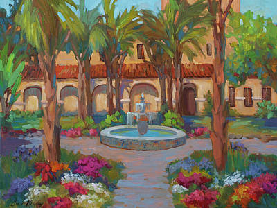 Fountain Painting - Ventura Mission by Diane McClary