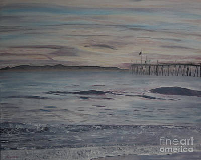 Ventura Pier High Surf Art Print by Ian Donley