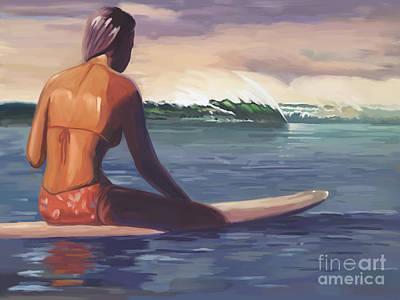 Surfer Girl Painting - Ventura Surfer Girl by Tim Gilliland