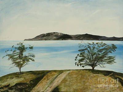 Painting - Ventura's Two Trees With Santa Cruz  by Ian Donley