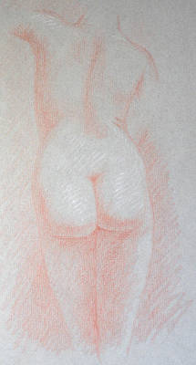 Female Torso, Back View Art Print by Deborah Dendler
