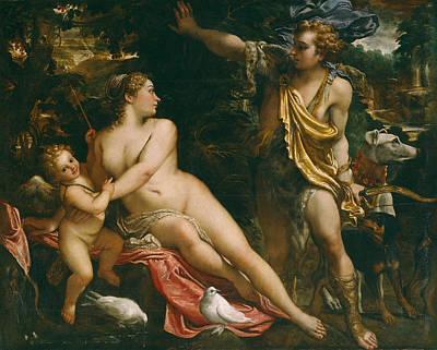 Venus Adonis And Cupid Art Print by Annibale  Carracci