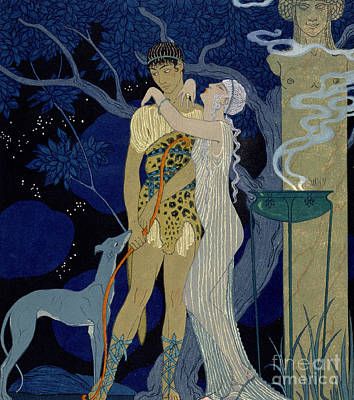 Greyhound Painting - Venus And Adonis  by Georges Barbier