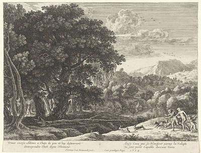 Venus Drawing - Venus And Adonis Hunting, Herman Van Swanevelt by Herman Van Swanevelt And Henri Bonnart (i)