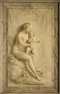Grisaille Painting - Venus And Cupid by Attributed to Piat Joseph Sauvage