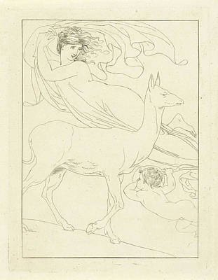 Pi Drawing - Venus And Cupid Floating In The Air With Deer by Artokoloro