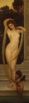 Drapery Painting - Venus And Cupid by Frederic Leighton