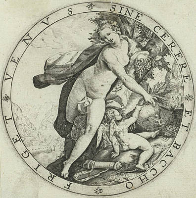 Venus Drawing - Venus And Cupid, Hendrick Goltzius by Hendrick Goltzius