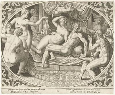 Venus And Mars Caught In Adultery, Jan Collaert II Art Print