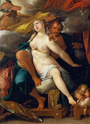Goddess Of Beauty Painting - Venus And Mars Warned By Mercury by Bartholomeus Spranger