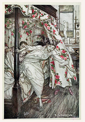 Venus And The Cat, Illustration From Aesops Fables, Published By Heinemann, 1912 Colour Litho Print by Arthur Rackham