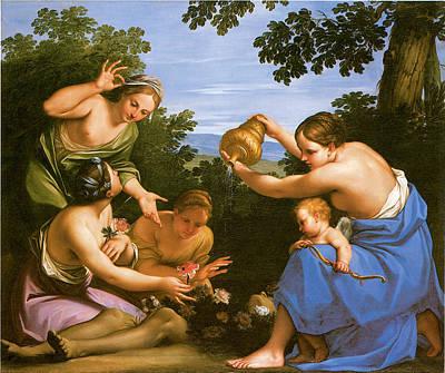 Venus Anointing The Dead Adonis Art Print by Marcantonio Franceschini